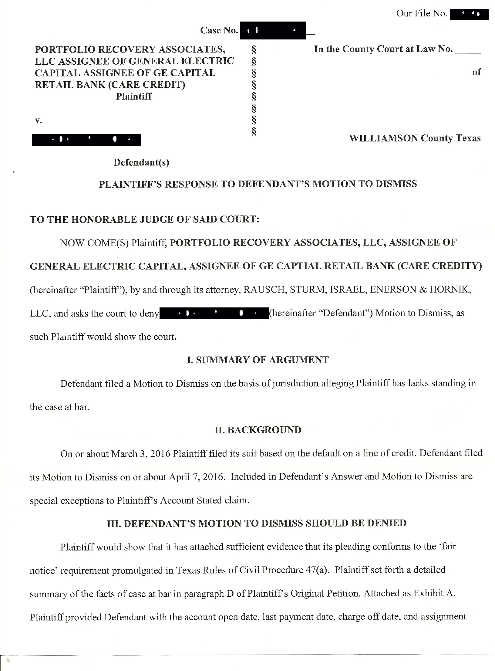 Being sued by Portfolio Associates in Texas - Williamson County - Is