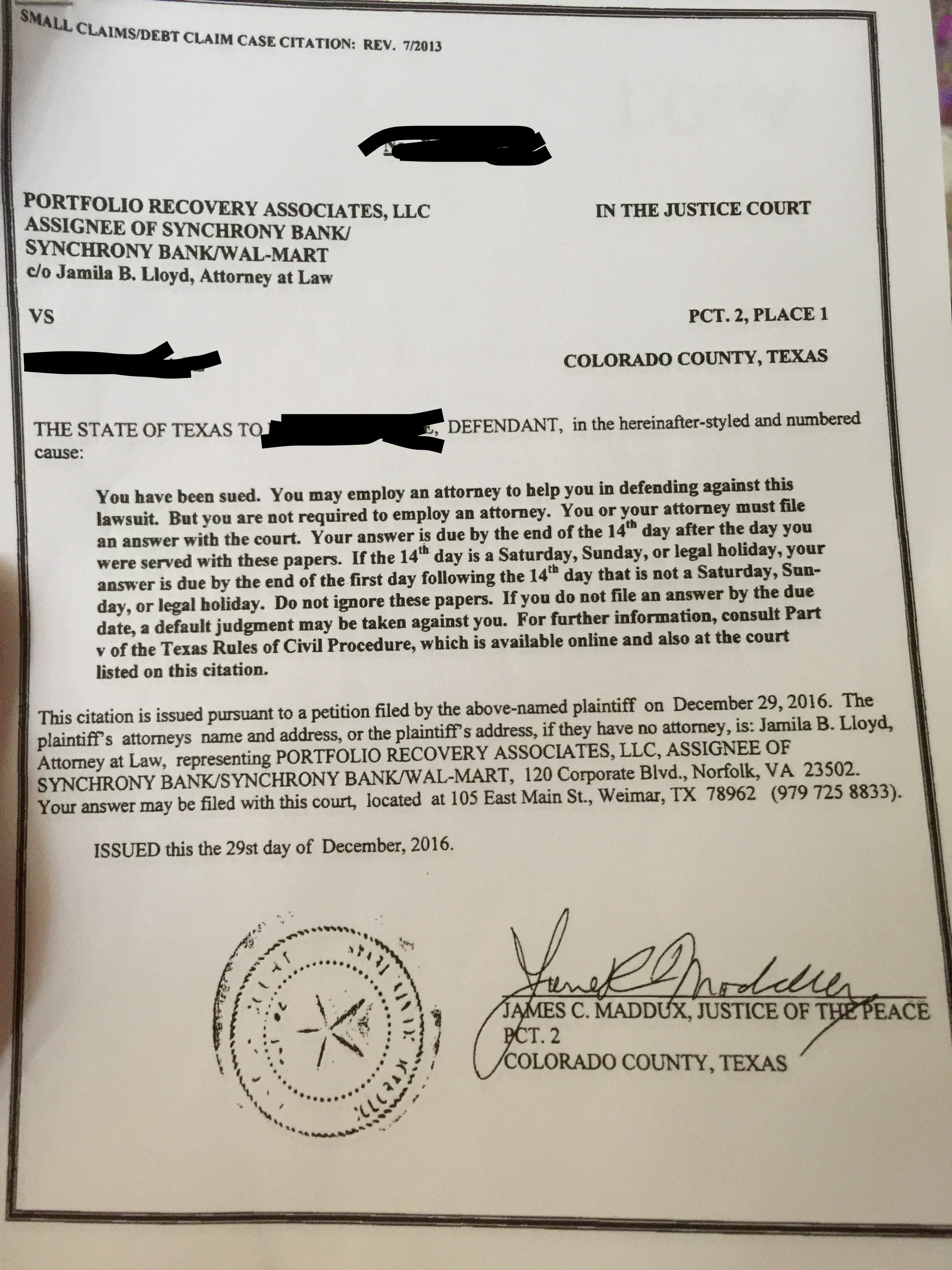 Being sued by PRA in TX, please help!! - Is There a Lawyer