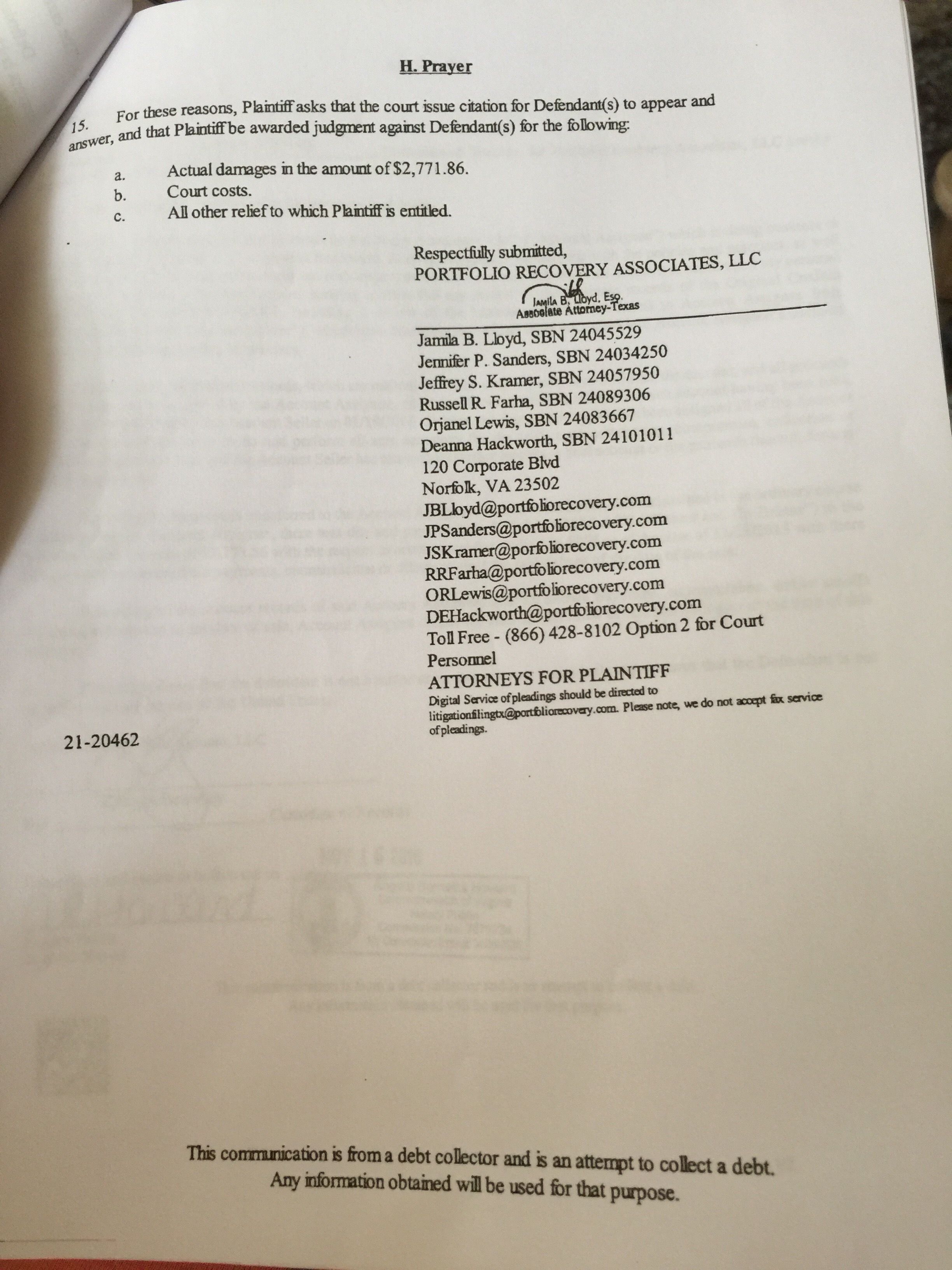 Being sued by PRA in TX, please help!! - Is There a Lawyer in the