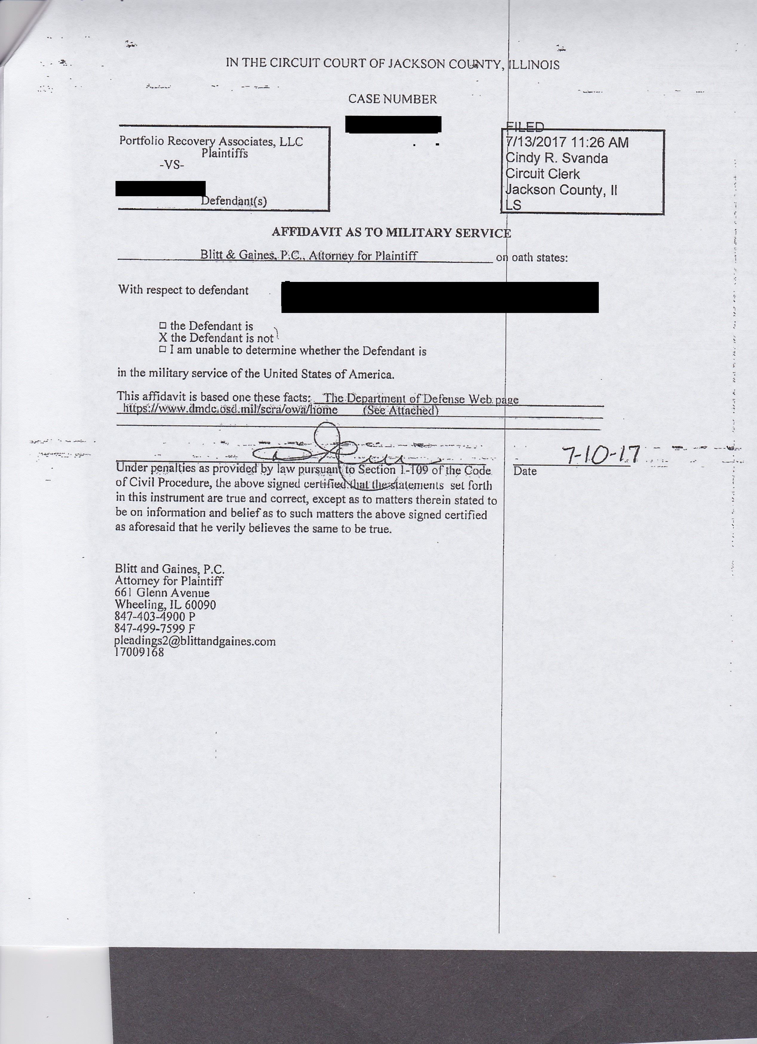 NEED HELP! Sued by Portfolio Recovery Associate in JACKSON county